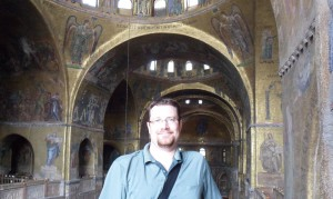 Yours truly enjoying the amazing artistry in St. Mark's Basilica.